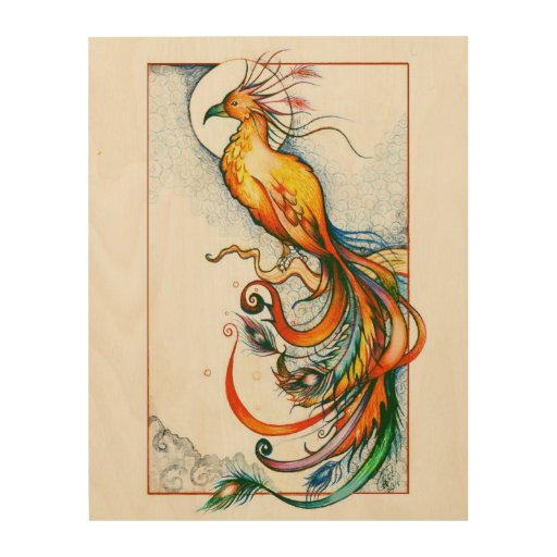 Phoenix Fire Bird Wood Canvas Print Wood Wall Art   Zazzle