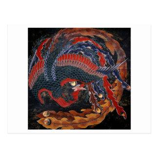 Phoenix (Firebird Goddess) Hokusai Fine Art Postcard