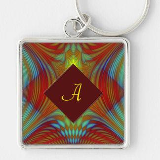 Phoenix fractal personalized keychain