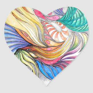 Phoenix Fronds Heart Sticker