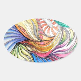 Phoenix Fronds Oval Sticker