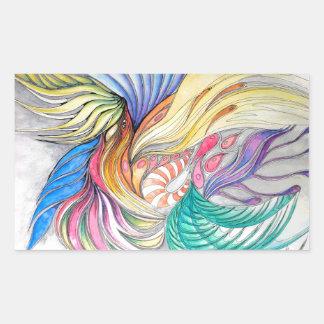 Phoenix Fronds Rectangular Sticker