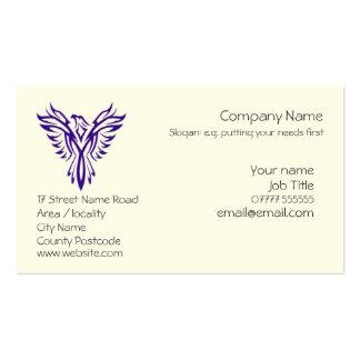Phoenix genérica que sube de las cenizas - púrpura tarjetas de negocios
