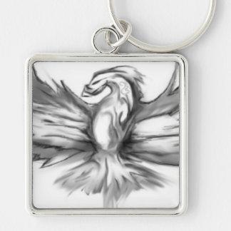 Phoenix gris llavero cuadrado plateado