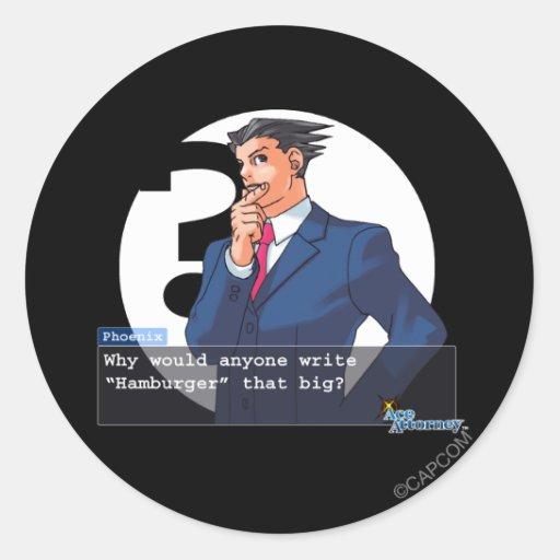 """Phoenix - """"Hamburger"""" Classic Round Sticker"""