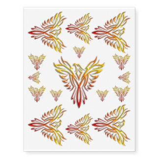 Phoenix Llama-coloreada que sube de las cenizas Tatuajes Temporales