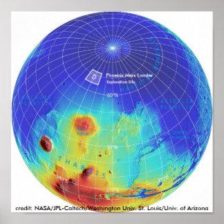 Phoenix Mars Lander Exploration Site Poster