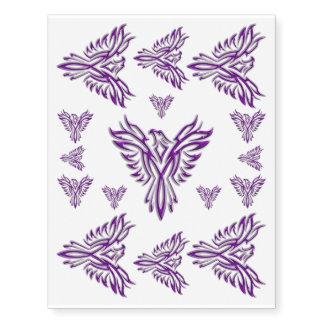 Phoenix púrpura que sube de las cenizas tatuajes temporales
