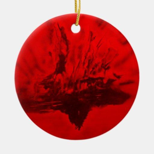 Phoenix que sube en rojo adorno redondo de cerámica