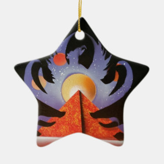 Phoenix Rising Double-Sided Star Ceramic Christmas Ornament