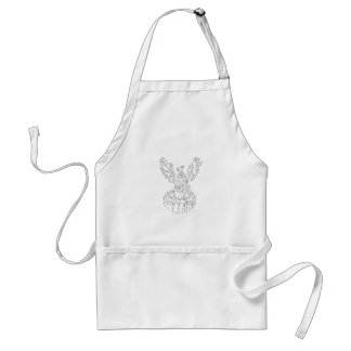 Phoenix Rising Fiery Flames Black and White Drawin Adult Apron