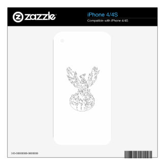 Phoenix Rising Fiery Flames Black and White Drawin Decal For The iPhone 4