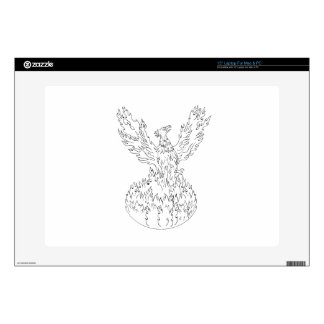 "Phoenix Rising Fiery Flames Black and White Drawin Skin For 15"" Laptop"