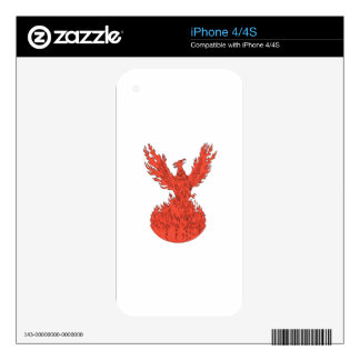 Phoenix Rising Fiery Flames Drawing Decals For The iPhone 4