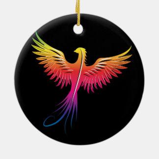 Phoenix rising flame colors ceramic ornament