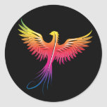 Phoenix rising flame colors classic round sticker
