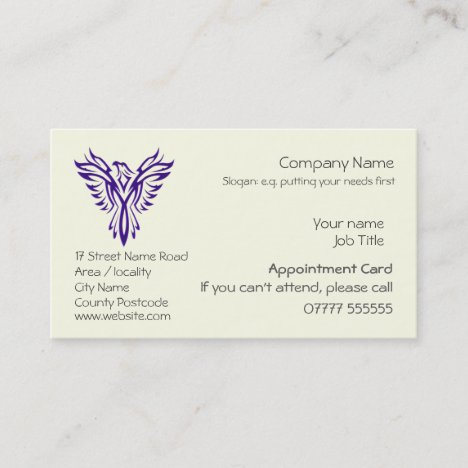 Phoenix Rising from Ashes, Appointment card
