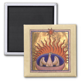 Phoenix Rising from the Ashes 2 Inch Square Magnet