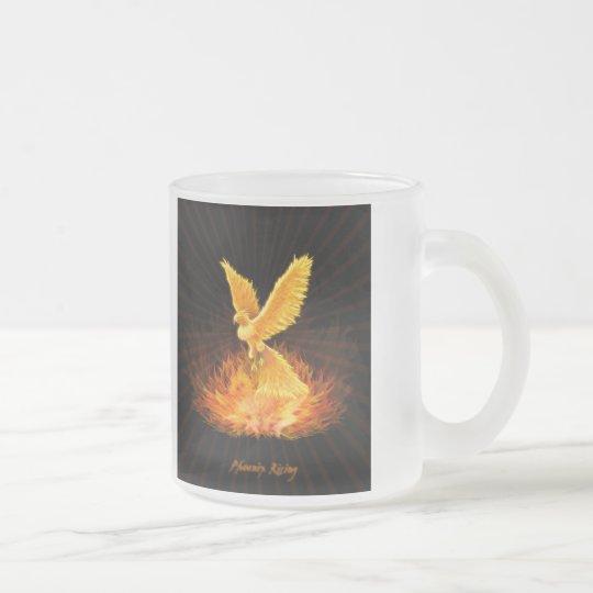 Phoenix Rising Frosted Glass Coffee Mug