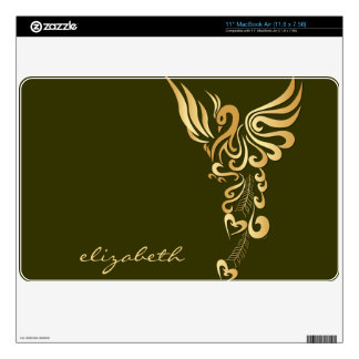 Phoenix Rising Golden Tattoo Mac Air Book Skin Skins For MacBook