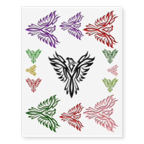 Phoenix Rising in many colors Temporary Tattoos