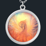 """Phoenix Rising Necklace<br><div class=""""desc"""">A beautiful necklace depicting The Phoenix rising. Created from the original oil painting of Visionary Artist,  Marina Petro.</div>"""