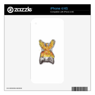 Phoenix Rising Over Burning Game Controller Tattoo Decal For iPhone 4