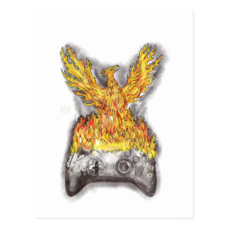 Phoenix Rising Over Burning Game Controller Tattoo Postcard
