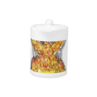 Phoenix Rising Over Burning Game Controller Tattoo Teapot