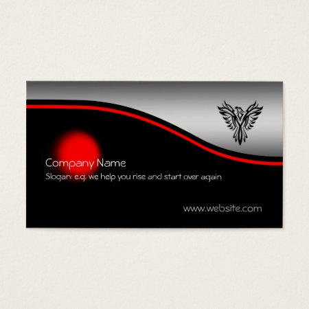 Phoenix Rising, red spot, brushed steel-effect Business Card