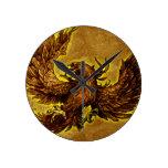 Phoenix Rising Round Wall Clocks