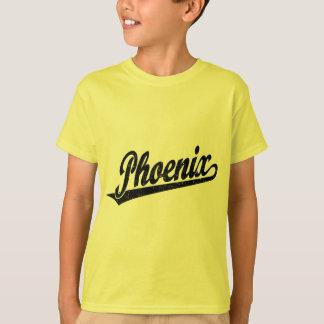 Phoenix script logo in black distressed T-Shirt
