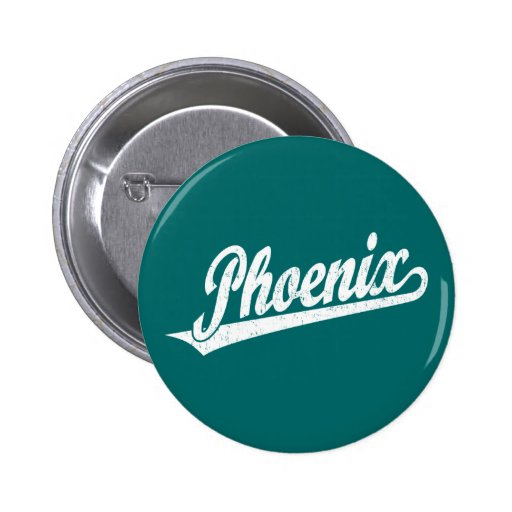Phoenix script logo in white distressed buttons