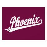 Phoenix script logo in white distressed flyer