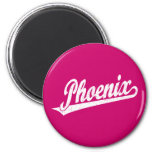 Phoenix script logo in white distressed fridge magnet