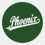 Phoenix script logo in white distressed classic round sticker