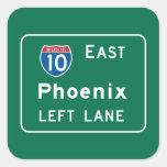 Phoenix, señal de tráfico de AZ Calcomanía Cuadrada
