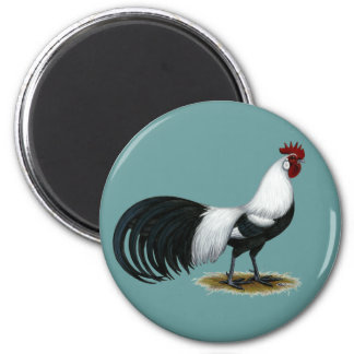 Phoenix:  Silver Duckwing Rooster 2 Inch Round Magnet