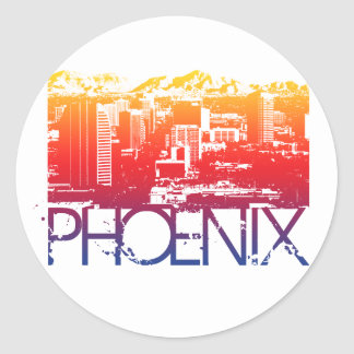Phoenix Skyline Design Classic Round Sticker