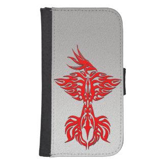Phoenix tribal 1 rojo funda billetera para teléfono