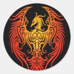 Phoenix tribal adornada etiquetas redondas
