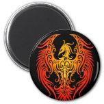 Phoenix tribal adornada imán redondo 5 cm