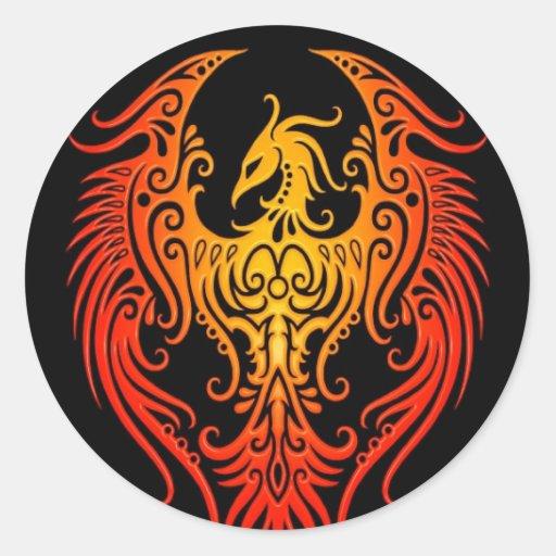 Phoenix tribal adornada pegatina redonda