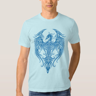Phoenix tribal azul adornada playeras