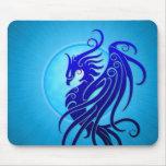 Phoenix tribal azul alfombrilla de raton