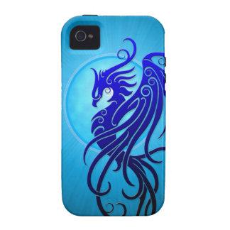 Phoenix tribal azul Case-Mate iPhone 4 fundas