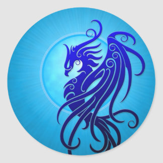 Phoenix tribal azul etiqueta redonda