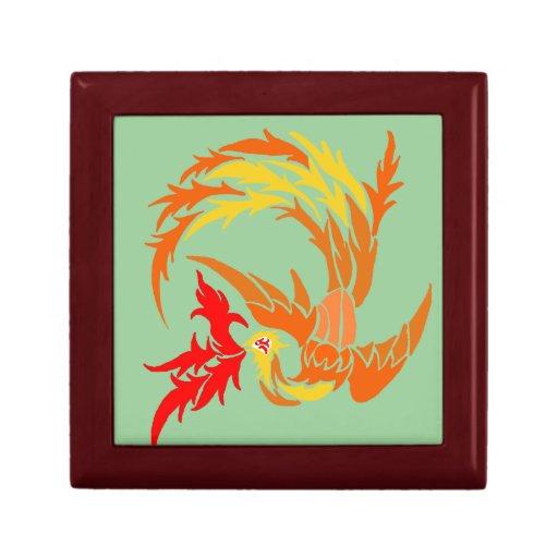 Phoenix tribal en el fuego joyero cuadrado pequeño