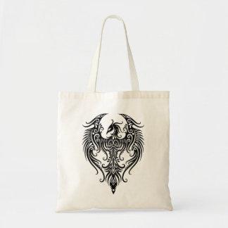 Phoenix tribal negra adornada bolsa tela barata