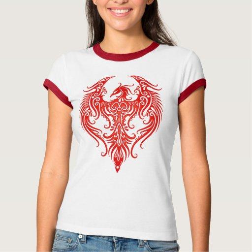 Phoenix tribal roja adornada playeras